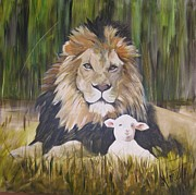 Lion Lamb Posters - The Lion and the Lamb Poster by Almeta LENNON
