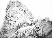 Lion Lamb Prints - The Lion and the Lamb Print by Bryan Bustard