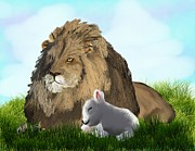 Lion Lamb Posters - The Lion and The Lamb Poster by Diane Haas