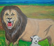 Lion Lamb Posters - The Lion and The Lamb Poster by Katerina De Thierry