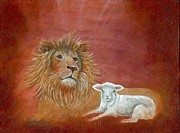 Lion Lamb Posters - The Lion and the Lamb Poster by Rita Welegala