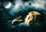 Starry Digital Art Posters - The Lion Sleeps Tonight Poster by Datha Thompson