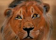 Wild Animal Pastels Posters - The Lion Within Poster by ShadowWalker RavenEyes Dibler