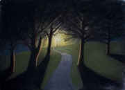 Night Lamp Pastels Prints - The Lit Path Print by Michael Williams