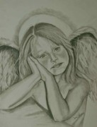 Angel Drawings - The Little Angel by Sandra Valentini