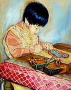 Canadian Art Drawings Prints - The Little Artist And His Crayola Crayons Print by Carole Spandau