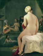 Harem Painting Framed Prints - The Little Bather in the Harem Framed Print by Jean Auguste Dominique Ingres