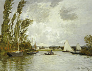 Boats At Dock Framed Prints - The Little Branch of the Seine at Argenteuil Framed Print by Claude Monet
