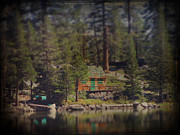 Lake Digital Art - The Little Cabin by Laurie Search