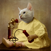 Cat Digital Art - The Little Chatterbox by Martine Roch