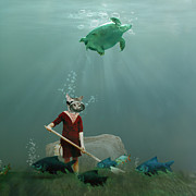 Underwater Digital Art - The little gardener by Martine Roch