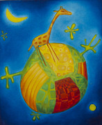 Globe Painting Originals - The Little Giraffe by Boryana Stambolieva
