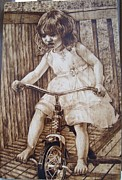 Little Girl Pyrography - The little girl by Michin Bouick