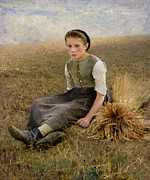 Sitting Painting Prints - The Little Gleaner Print by Hugo Salmon