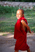 Myanmar Posters - The little monk of Mingun Poster by RicardMN Photography