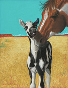 West Pastels Posters - The Little Mustang Poster by Tracy L Teeter