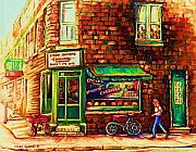 Montreal Streets Painting Originals - The Little Red Wagon by Carole Spandau
