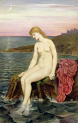 Pensive Framed Prints - The Little Sea Maid  Framed Print by Evelyn De Morgan