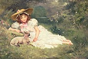 Lambing Metal Prints - The Little Shepherdess Metal Print by Arthur Dampier May