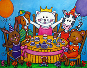 Lisa Lorenz Painting Metal Prints - The Little Tea Party Metal Print by Lisa  Lorenz