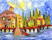 Village By The Sea Painting Prints - The little Village Print by Connie Valasco