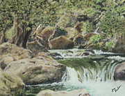 Stream Pastels Originals - The Little Waterfalls by Jim Barber Hove