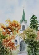 Watercolor Paintings - The Little White Church by Bobbi Price