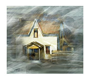 Farm House Mixed Media Posters - The Little White House On Hwy 6 Poster by Bob Salo