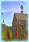 Weathervane Painting Posters - The Lobster Fishing Shanty Poster by Earl Jackson