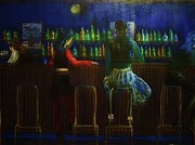 Bar Scene Paintings - The Local Bar by Reb Frost