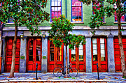 French Doors Digital Art Prints - The Locked Bicycle - New Orleans Print by Bill Cannon