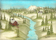 Mountain Cabin Pastels Framed Prints - The Lodge Framed Print by Nick Ambler