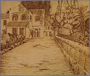 Sepia Pyrography Originals - The Lodge School by Richard Jules