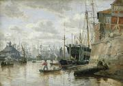 Boats At The Dock Art - The Log Cabin at Hamburg Harbour by Valentin Ruths