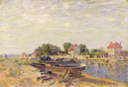 Ship Paintings - The Loing at Saint Mammes 1885 by Alfred Sisley