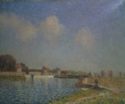 Sisley Framed Prints - The Loing at Saint Mammes Framed Print by Alfred Sisley