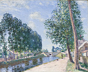 Tree Lined Paintings - The Loing Canal at Moiret by Alfred Sisley