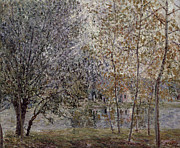 Spring Trees Prints - The Loing Canal in Spring Print by Alfred Sisley