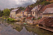 Old Houses Metal Prints - The Loir River Metal Print by Debra and Dave Vanderlaan
