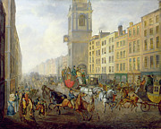 Crowd Scene Paintings - The London Bridge Coach at Cheapside by William de Long Turner