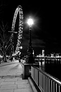 London At Night Framed Prints - The London Eye At Night Framed Print by David Pyatt