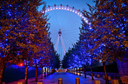 City Photography Digital Art - The London Eye at Night by Donald Davis