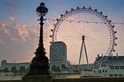 2011 Digital Art Prints - The London Eye Sunrise Print by Donald Davis