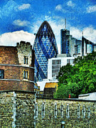 Award Digital Art Framed Prints - The London Gherkin  Framed Print by Steve Taylor