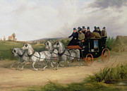 Coach Paintings - The London to Brighton Stage Coach by William Joseph Shayer