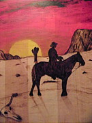 Arizona Sunset Pyrography Framed Prints - The Lone Cowboy Framed Print by Andrew Siecienski