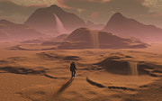 Digitally Generated Image Art - The Lone Figure Of An Explorer Watching by Mark Stevenson