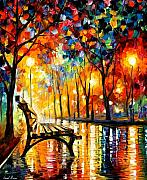 Leonid Afremov Metal Prints - The Loneliness Of Autumn Metal Print by Leonid Afremov