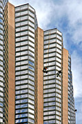 At Work Metal Prints - The Loneliness of the Skyscraper Window Cleaner Metal Print by Christine Till