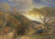Overlooking A Valley Prints - The Lonely Tower Print by Samuel Palmer